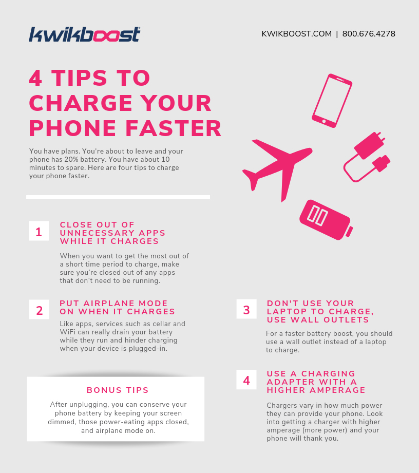 4 Tips to Charge Your Cell Phone Faster Infographic