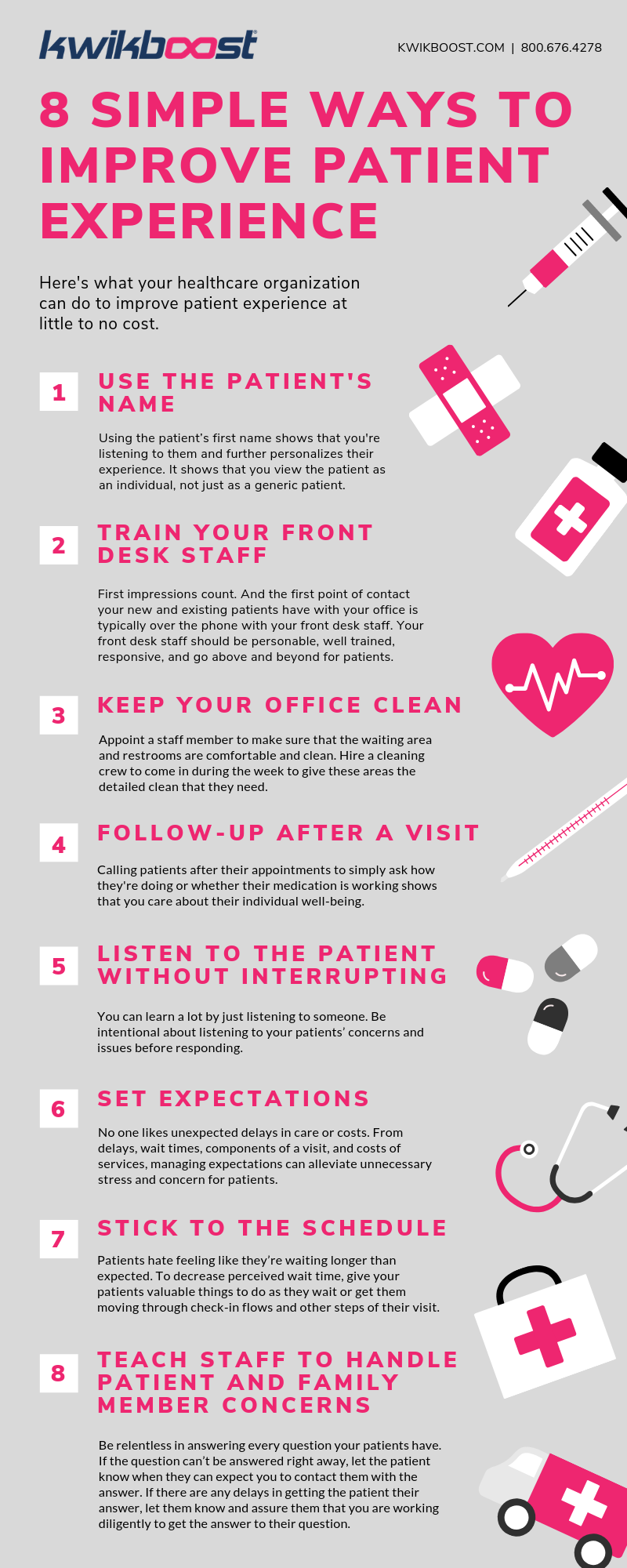 8 Simple Ways to Improve Patient Experience Infographic